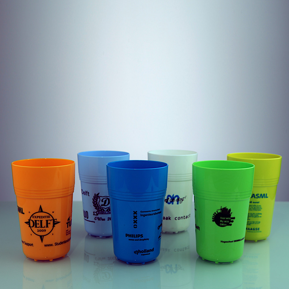 Full colour hard cup met tampondruk